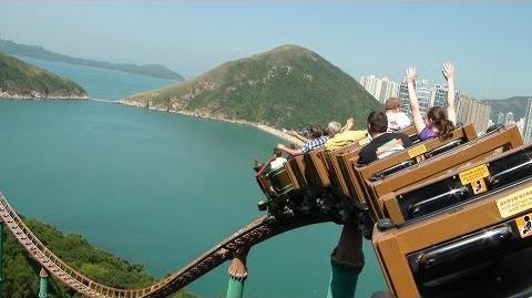 Wild West Mine Train Roller Coaster Back Seat POV Ocean Park Hong Kong China