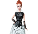 Black and White Collection Laser-Leatherette Dress Barbie Doll
