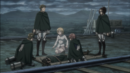 Hange's squad and Historia surround an unconscious Ymir.png
